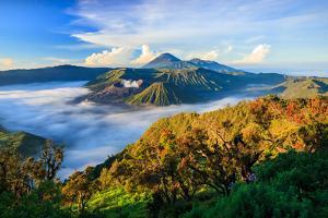 Bromo Volcano at Sunrise,Tengger Semeru National Park, East Java, Indonesia by lkunl