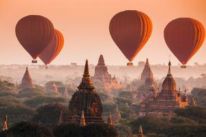 Hot Air Balloon over Plain of Bagan in Misty Morning, Myanmar by lkunl