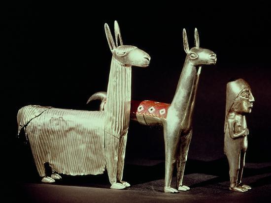 Llama, Alpaca and Woman, Inca--Giclee Print