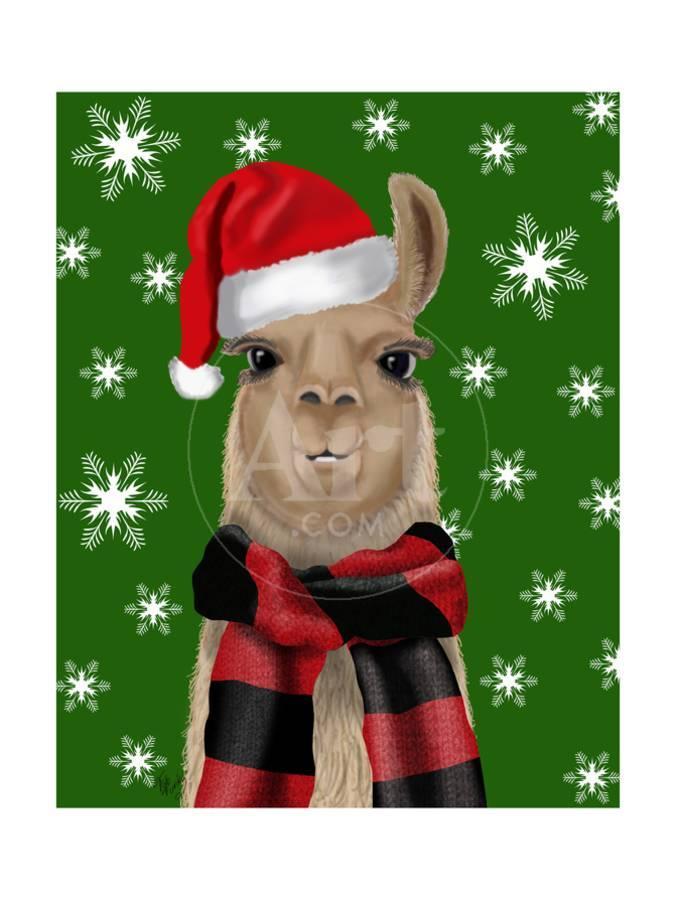 Llama Christmas.Llama Christmas Hat Art Print By Fab Funky Art Com