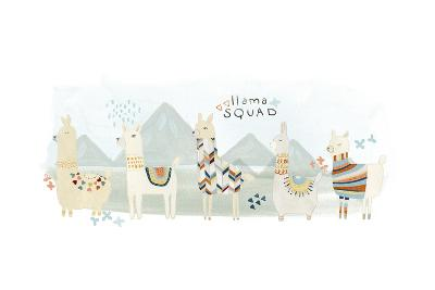 Llama Squad III-June Vess-Art Print