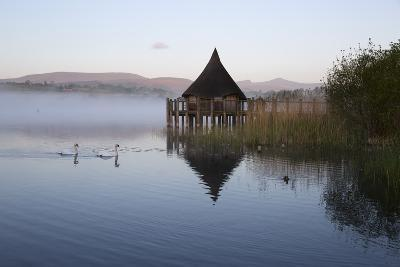 Llangorse Lake and Crannog Island in Morning Mist-Stuart Black-Photographic Print