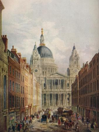 St Pauls Cathedral, Looking Up Ludgate Hill, London, 1925 by Lloyd Brothers