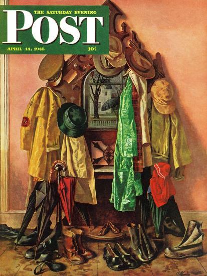 """Loaded Coat Rack,"" Saturday Evening Post Cover, April 14, 1945-John Atherton-Giclee Print"