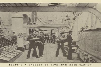 Loading a Battery of Five-Inch Deck Cannon--Photographic Print