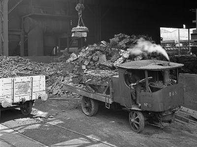 Loading a Steam Wagon with Scrap at a Steel Foundry, Sheffield, South Yorkshire, 1965-Michael Walters-Photographic Print