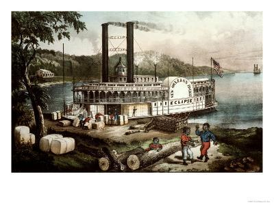 Loading Cotton on the Mississippi, 1870-Currier & Ives-Giclee Print