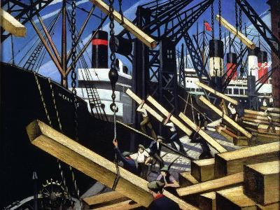 Loading Timber, Southampton Docks, 1916-17-Christopher Richard Wynne Nevinson-Giclee Print