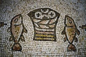 Loaves and Fish, Mosaic in the Church of the Multiplication, 4th Century, Tabgha, Israel