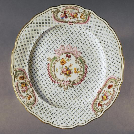 Lobed Plate with Floral Compositions on Seeded Floral Background--Giclee Print
