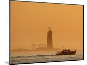 Lobster Boat Passes Ram Island Ledge Light at Dawn Off Cape Elizabeth, Maine