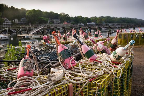 Lobster buoys, Lobster Cove, Annisquam, Cape Ann, Essex County, Massachusetts, USA--Photographic Print