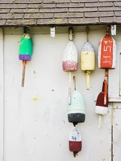 Lobster Buoys on Hut-Tom Grill-Photographic Print
