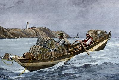 Lobster Fishermen in the Grand Manan Channel Between Maine and New Brunswick, 1890s--Giclee Print