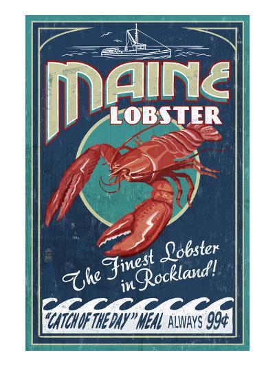 Lobster - Rockland, Maine-Lantern Press-Art Print