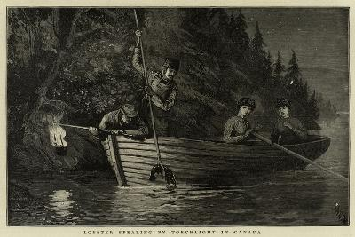 Lobster Spearing by Torchlight in Canada--Giclee Print