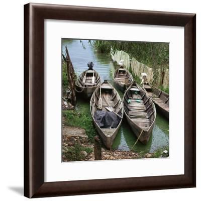 Local boats at an island on Lake Ioanina-CM Dixon-Framed Photographic Print