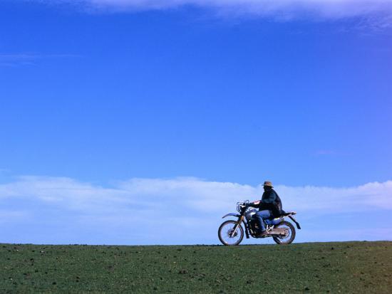 Local Farmer Riding Motorbike Across Paddock, Seymour, Australia-Will Salter-Photographic Print