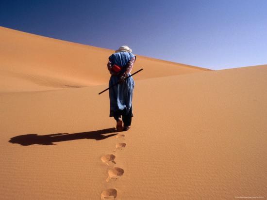 Local Man Walking in the Sahara-Olivier Cirendini-Photographic Print