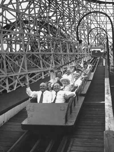 Local Politicians Riding the Roller Coaster at the Carnival-Ed Clark-Photographic Print