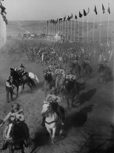 """Local Sheriff's Posse Supplying Movie-like Touch to Jamboree at the """"Avenue of Flags""""-Ed Clark-Photographic Print"""
