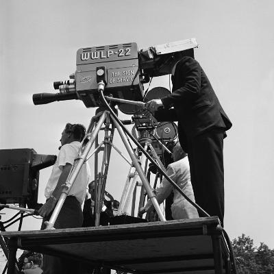 Local Television Station Camera Crew Outdoors on Platform, Filming-H^ Armstrong Roberts-Photographic Print