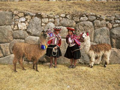 Local Women and Llamas in Front of Inca Ruins, Near Cuzco, Peru, South America-Gavin Hellier-Photographic Print