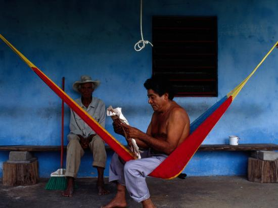 Locals Resting on the Porch in Chichicapa, Tabasco, Mexico-Jeffrey Becom-Photographic Print