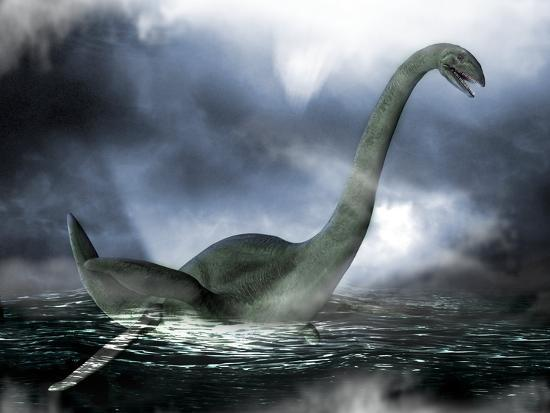 Loch Ness Monster, Artwork-Victor Habbick-Photographic Print