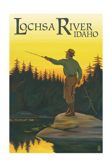 Lochsa River, Idaho - Fly Fishing Scene-Lantern Press-Art Print