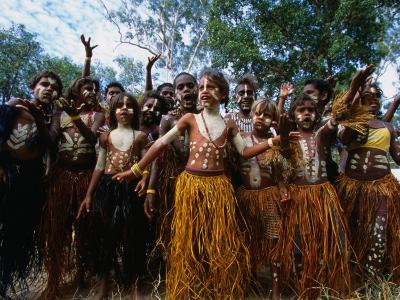 Lockhart River State School Dance Troupe, Cape York Peninsula, Queensland, Australia-Oliver Strewe-Photographic Print