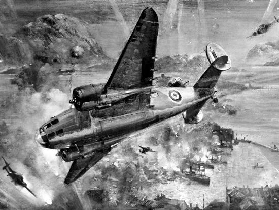 Lockheed 'Hudsons' Bombing Aalesund; Second World War, 1941--Photographic Print