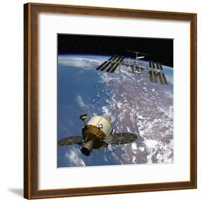 Rendering of the Orion space capsule and International Space Station