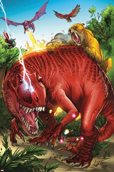 Lockjaw and the Pet Avengers No.2 Group: Devil Dinosaur, Zabu, Red Wing and Lockheed-Ig Guara-Art Print