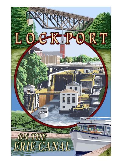 Lockport, New York - Montage Poster-Lantern Press-Art Print