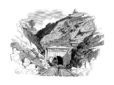 Locomotive Emerging from the Kingwood Tunnel Through the Alleghany Mountains, 1861--Giclee Print