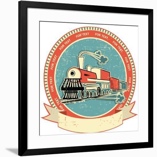 Locomotive Label.Vintage Style on Old Texture-GeraKTV-Framed Art Print