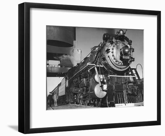 Locomotive of Train at Water Stop During President Franklin D. Roosevelt's Trip to Warm Springs-Margaret Bourke-White-Framed Premium Photographic Print