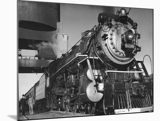 Locomotive of Train at Water Stop During President Franklin D. Roosevelt's Trip to Warm Springs-Margaret Bourke-White-Mounted Premium Photographic Print