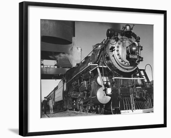 Locomotive of Train at Water Stop During President Franklin D. Roosevelt's Trip to Warm Springs-Margaret Bourke-White-Framed Photographic Print