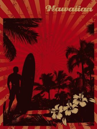 Hawaiian Vintage Surf Poster