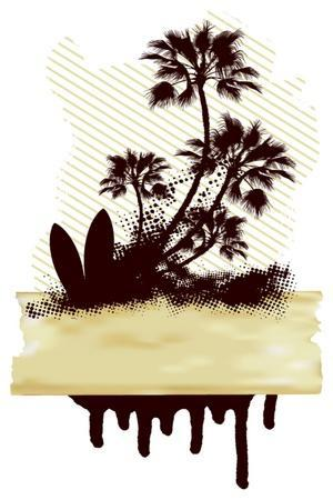 Surf Grunge Dirty Scene with Palms and Table