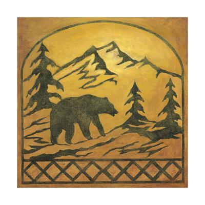 Lodge Bear Silhouette-Chariklia Zarris-Art Print