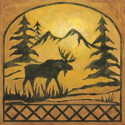 Lodge Moose Silhouette-Chariklia Zarris-Art Print