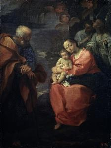 The Holy Family Beneath a Palm Tree, (Rest on the Flight into Egyp), Late 16th Century by Lodovico Carracci