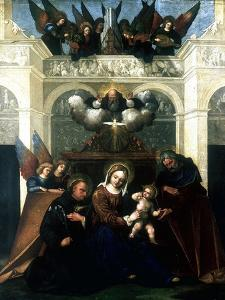 Holy Family with Saint Nicholas of Tolentino, 1515-1530 by Lodovico Mazzolini
