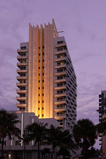 Loews Hotel and Royal Palms at Dusk, Collins Avenue, Miami South Beach, Art Deco District, Florida-Axel Schmies-Photographic Print