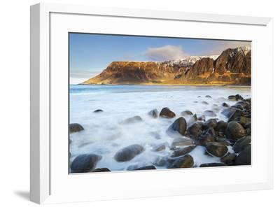 Lofoten islands, Norway, Europe. The last lights of the sunset on the beach.-ClickAlps-Framed Photographic Print