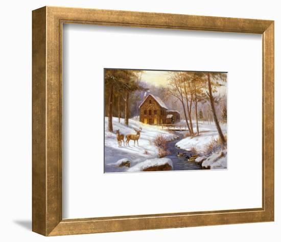 Log Cabin with Deer-M^ Caroselli-Framed Art Print