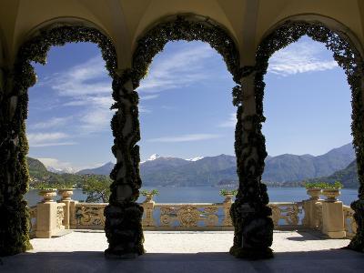 Loggia and Gardens of Villa del Balbianello on Punta di Lavedo, Lenno, Lake Como, Italy-Peter Barritt-Photographic Print